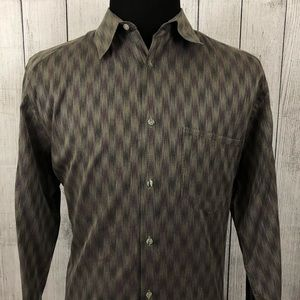 Jhane Barnes L Brown Geometric Button-Front Shirt
